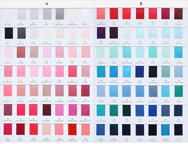 ribbon color cards and charts